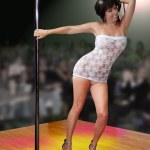 Poledancer white dress — Stock Photo #10239967