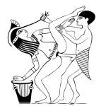 Erotic art of ancient Egypt - vector — Stock Vector