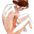 Naked girl seen from behind, nude art, hand drawn with pencil and ink — Photo