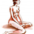 Nude girl posing, nude art, hand drawn with pencil and ink — Stock Photo
