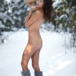 Stock Photo: Naked beautiful woman with closed eyes in the winter forest