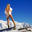 Naked on the snow — Stock Photo