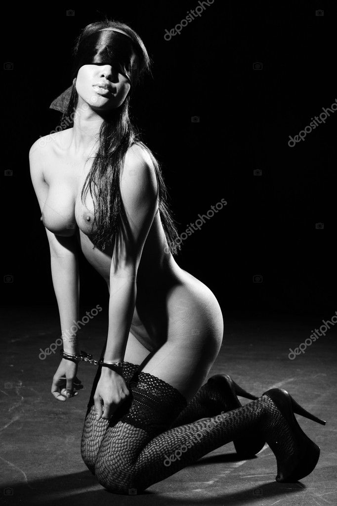 Beautiful Nude Woman With Blindfold And Handcuffs Stock Image
