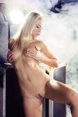 Sexy nude girl posing with a flightcase — Stock Photo