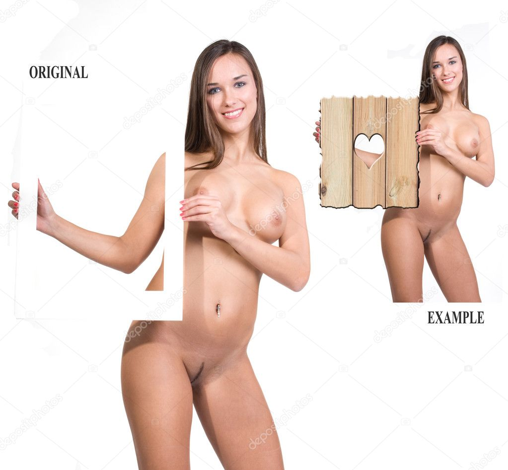 Very beautiful fully nude woman holding a presentation board in her hands, ...