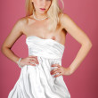 Sexy latina white dress woman — Stock Photo