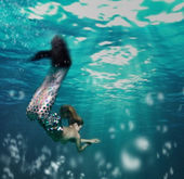 Girl as mermaid — Stock Photo