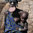 Mursi Woman with her baby — Photo